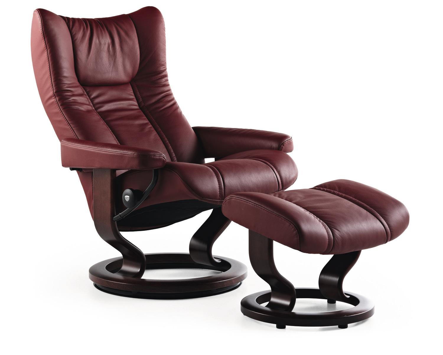 Stressless By EkornesStressless Wing Small Classic Base Chair And Ottoman
