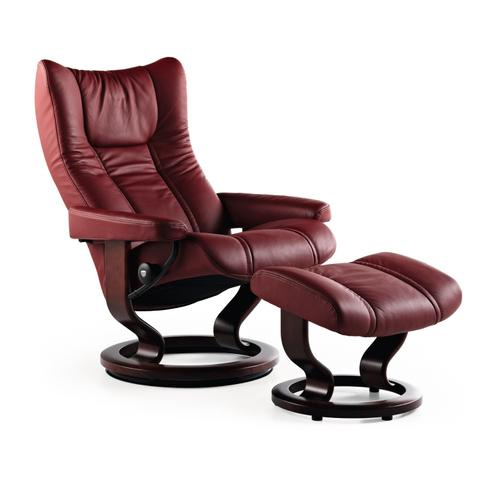 Stressless By Ekornes - Stressless Wing Large Classic Base Chair and Ottoman