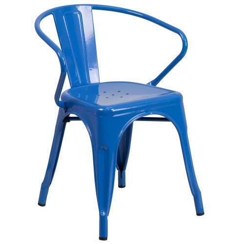 Blue Metal Indoor-Outdoor Chair with Arms