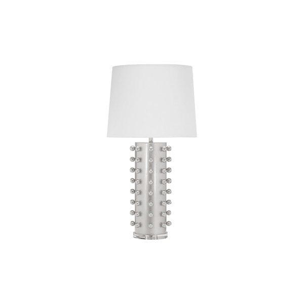 Shedding Light On Serious Style, Our Anita Table Lamp Looks Downright Gorgeous Day or Night. the Round Base Is Dotted With Hand Leafed Silver Balls and Topped With A Crisp White Linen Shade. A Slim, Streamlined Acrylic Pedestal Base Finishes the Stylish Look.