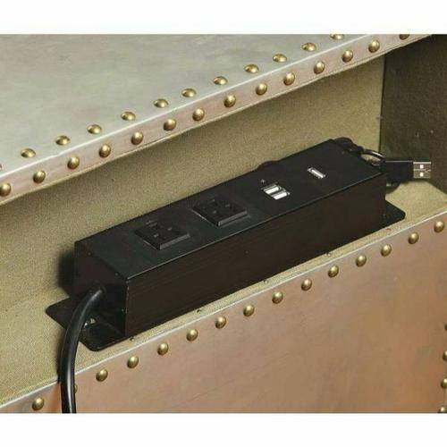 ACME Brancaster Nightstand (USB/Power Dock) - 26218 - Aluminum
