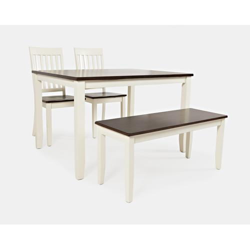 Decatur Lane Table & 2 Chairs & Bench Autumn Brown/white