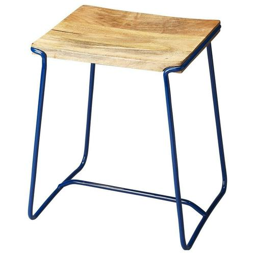 This contemporary stool will stylishly enhance your space. Featuring a Blue Finish, it is hand crafted from iron, mango wood.