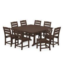 View Product - Lakeside 9-Piece Farmhouse Trestle Dining Set in Mahogany