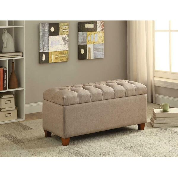 See Details - Tufted Taupe Storage Bench