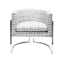 Nickel Frame Barrel Chair In P04/grid
