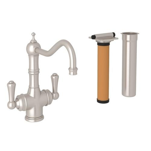 Satin Nickel Perrin & Rowe Edwardian Filtration 2-Lever Bar/Food Prep Faucet with Traditional Metal Lever