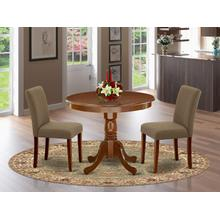 3Pc Rounded 36 Inch Dinette Table And Two Parson Chair With Mahogany Leg And Linen Fabric Coffee