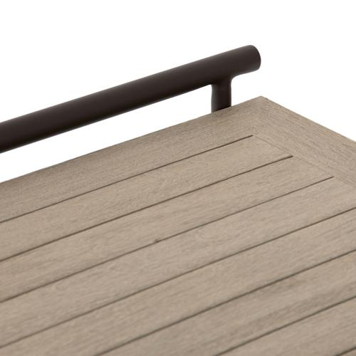 Washed Brown Finish Ledger Outdoor End Table
