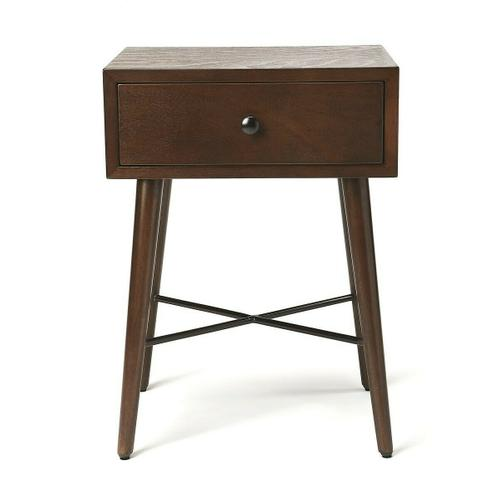 With Mid-Century Modern roots, this classic rectangular End Table is both good-looking and functional. Crafted from Bayur wood solids and Okoume veneer, it features a fresh contemporary dark chocolate finish with a spacious drawer, great dark metal finis