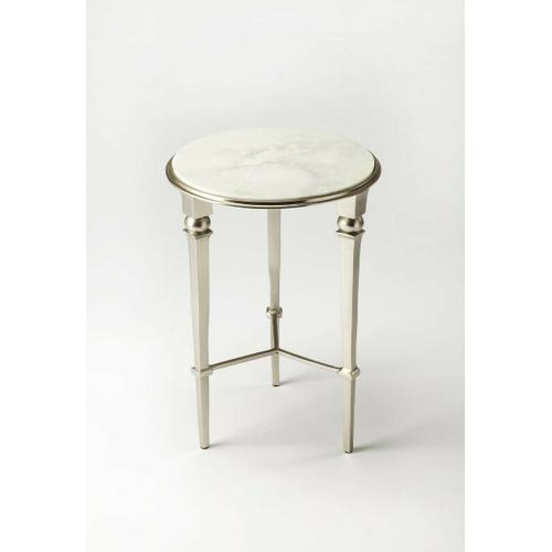 Butler Specialty Company - Brushed and polished silver finishes alternate on this fifties-inspired end table. The subtle veins of the white marble top add richness and the simplicity makes for an elegant finishing touch. Even more beautiful in pairs.