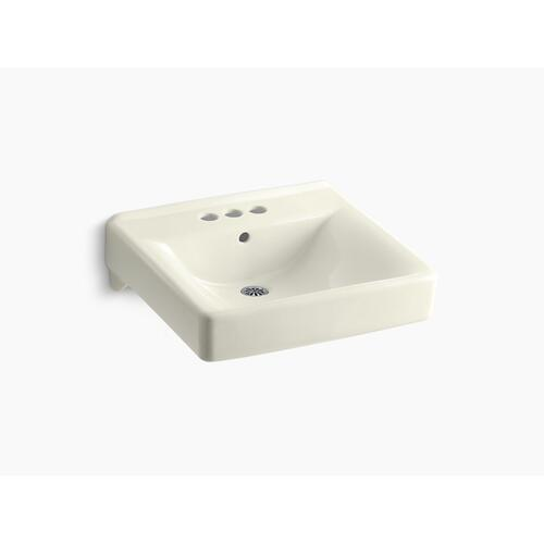 "Biscuit 20"" X 18"" Wall-mount/concealed Arm Carrier Arm Bathroom Sink With 4"" Centerset Faucet Holes"