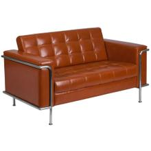 Contemporary Cognac Leather Loveseat with Encasing Frame