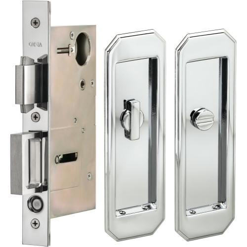 Product Image - Pocket Door Lock with Traditional Trim featuring Turnpiece and Emergency Release in (US26 Polished Chrome Plated)