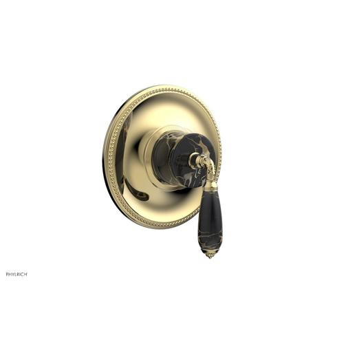 Phylrich - VALENCIA - Thermostatic Shower Trim, Black Marble Lever Handle TH338C - Polished Brass Uncoated