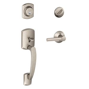 Greenwich Single Cylinder Handleset and Broadway Lever - Satin Nickel Product Image