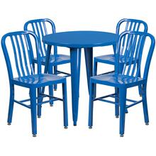 30'' Round Blue Metal Indoor-Outdoor Table Set with 4 Vertical Slat Back Chairs