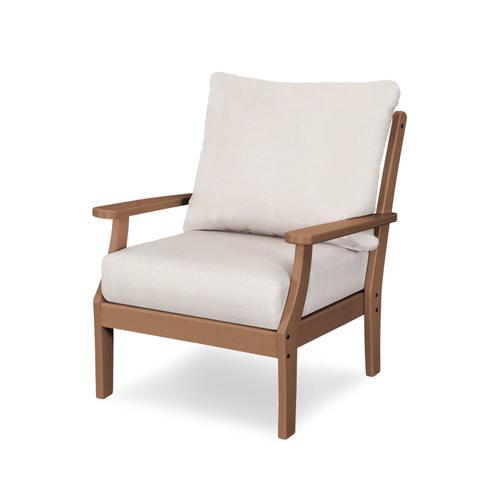 Teak & Antique Beige Braxton Deep Seating Chair