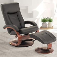 Hamar Recliner & Ottoman in Black Grain Leather