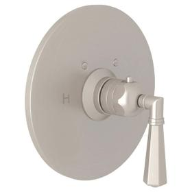 San Giovanni Thermostatic Trim Plate without Volume Control - Satin Nickel with Metal Lever Handle
