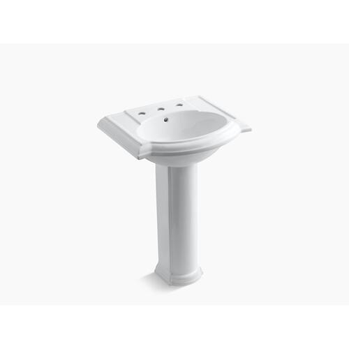 "Thunder Grey 24"" Pedestal Bathroom Sink With 8"" Widespread Faucet Holes"