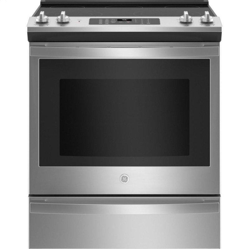 """GE® 30"""" Slide-In Electric Convection Range with No Preheat Air Fry"""