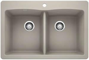 Diamond Equal Double Bowl With Ledge - Concrete Gray Product Image