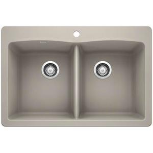 Diamond Equal Double Bowl With Ledge - Concrete Gray