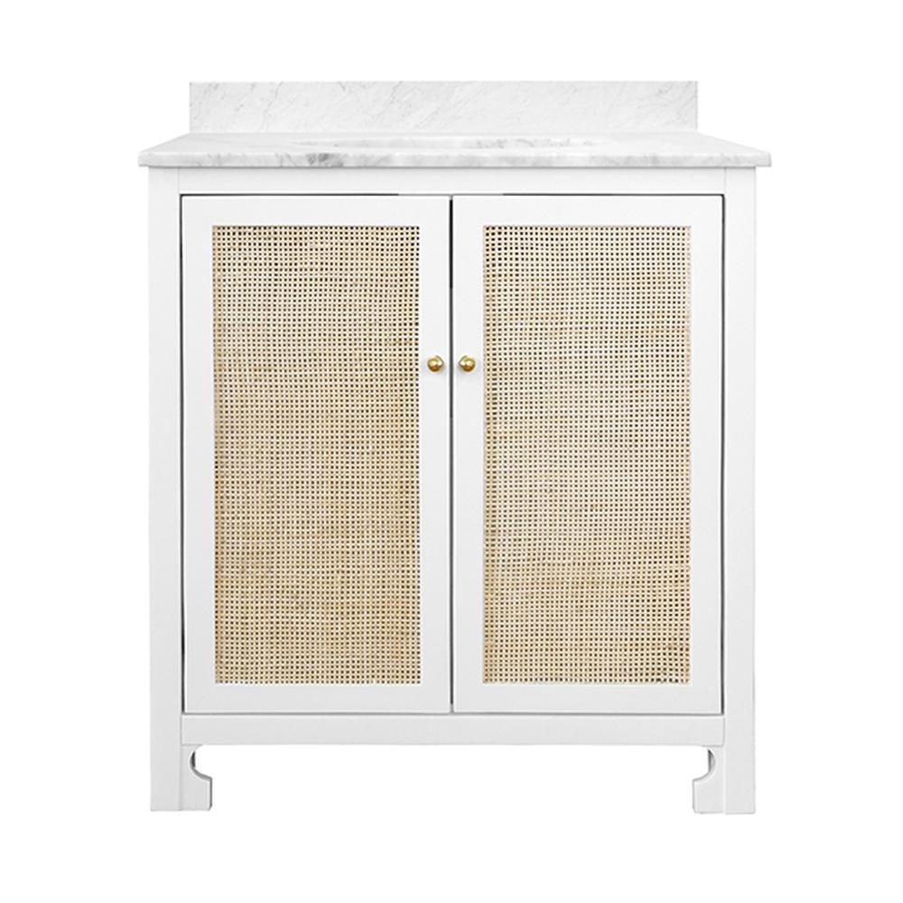 See Details - With Its Bright and Airy Aesthetic, Our Boyd Vanity Brings Understated Luxury To Your Mid Century, Farmhouse or Scandinavian-inspired Bathroom. Simple and Refined, the Natural Cane Door Fronts Are Encased In White Matte Lacquer With Brass Knob Hardware. Includes A White Marble Top & Backsplash as Well as A White Porcelain Sink.