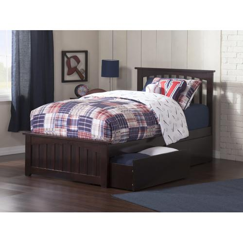 Atlantic Furniture - Mission Twin XL Bed with Matching Foot Board with 2 Urban Bed Drawers in Espresso