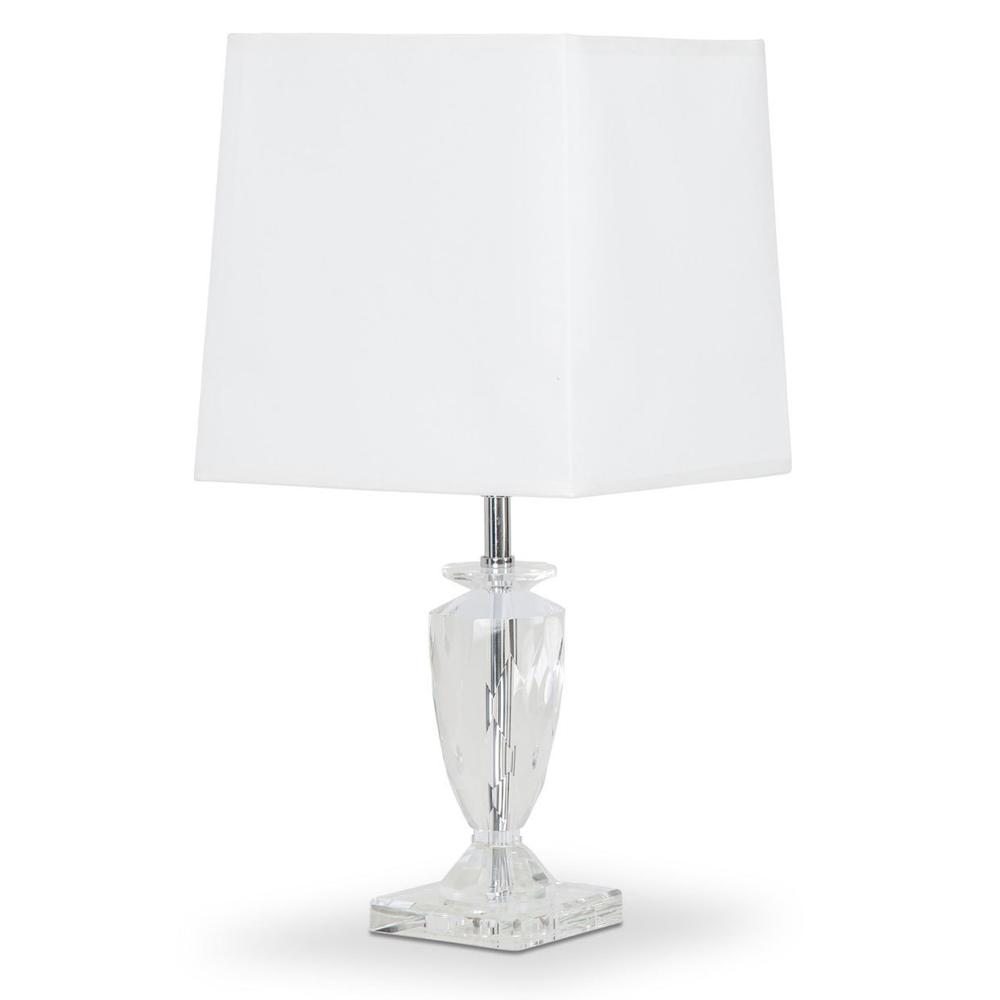 Crystal Table Lamp W/rect Shade, White, -pack/2