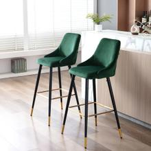 Auburn Velvet Upholstered Bar Chair, Green