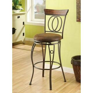 "ACME Tavio Bar Chair w/Swivel (Set-2) - 96046 - Fabric & Dark Bronze - 29"" Seat Height"