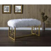 ACME Bagley II Bench - 96451 - White Faux Fur & Gold Product Image