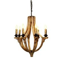 WOOD CHANDELIER WITH DISTRESSED FI