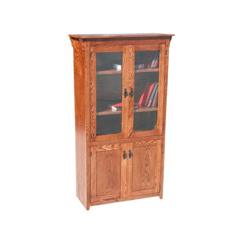 "Mission Oak 36"" 4-Door Bookcase"