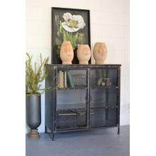 See Details - short iron and glass apothecary cabinet