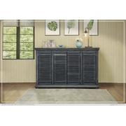 "67"" Console w/4 push doors, Parota wood, blue finish Product Image"