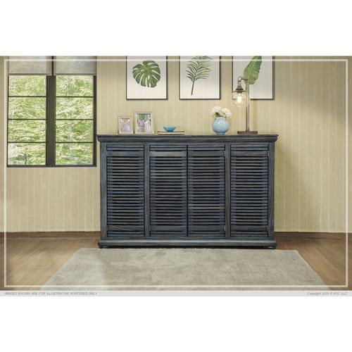 "International Furniture Direct - 67"" Parota Wood Console w/ 4 push Doors"