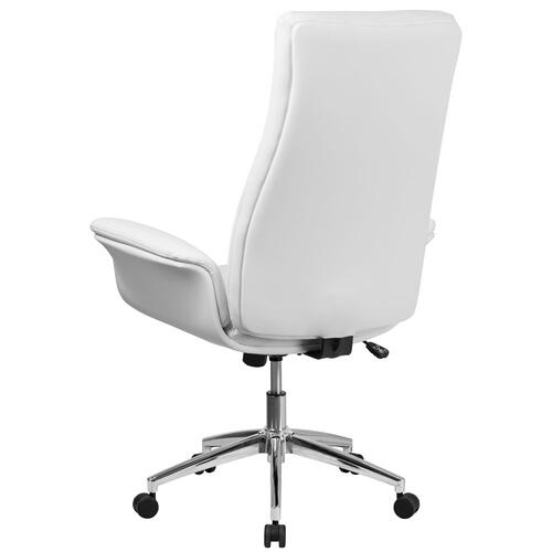 High Back White Leather Executive Swivel Chair with Flared Arms