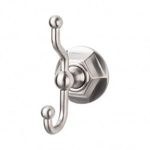 Edwardian Bath Double Hook Hex Backplate - Brushed Satin Nickel
