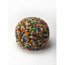 A beautiful room accent, this woven pouffe is ideal for extra seating where space is limited. Resembling a jar of multicolored gumballs, it features a 100% wool felt outer shell and high density thermocol beans inside for comfort and durability.