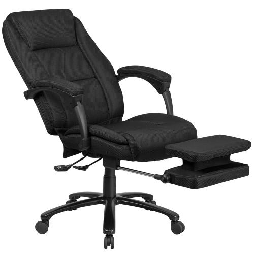 High Back Black Fabric Executive Reclining Swivel Office Chair with Comfort Coil Seat Springs and Padded Armrests
