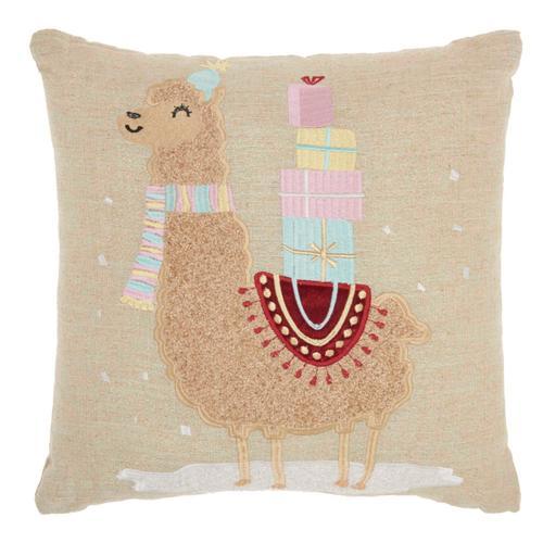 """Holiday Pillows Em468 Natural 18"""" X 18"""" Throw Pillow"""
