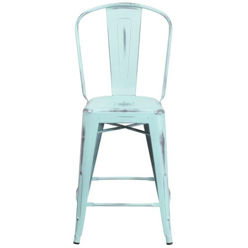 24'' High Distressed Green-Blue Metal Indoor-Outdoor Counter Height Stool with Back