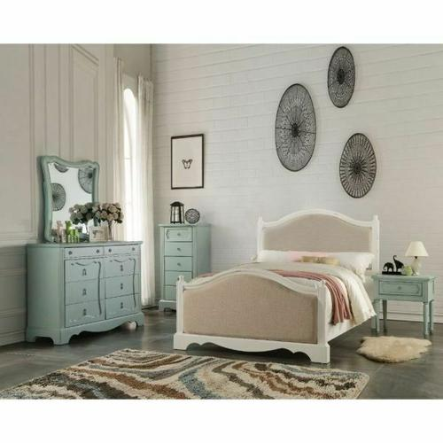 ACME Morre Twin Bed - 30800T - Beige Linen & Antique White