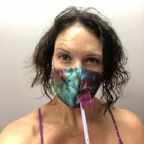 Happy Hour Reusable Face Mask in Tie Dye Eggplant