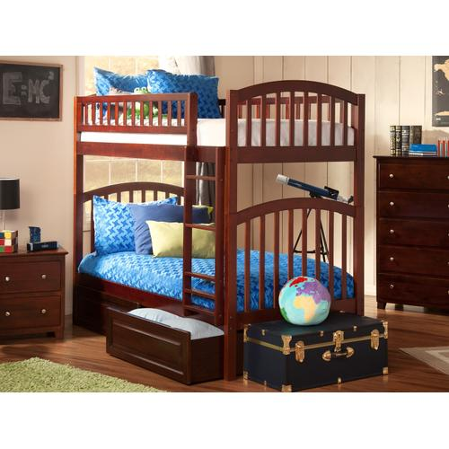 Atlantic Furniture - Richland Bunk Bed Twin over Twin with Raised Panel Bed Drawers in Walnut