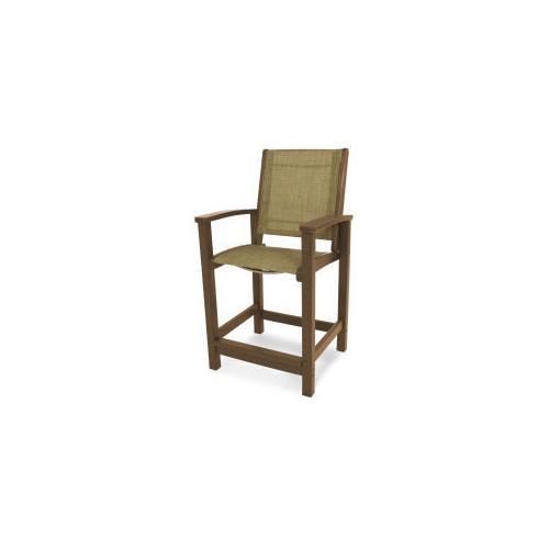 Polywood Furnishings - Coastal Counter Chair in Teak / Burlap Sling