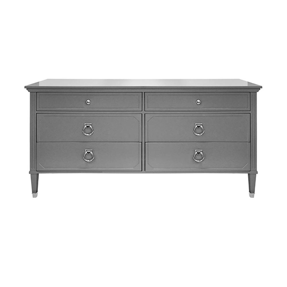 Six Drawer Chest In Matte Dark Grey Lacquer With Nickel Hardware